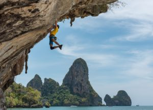 guy horizontal climbing