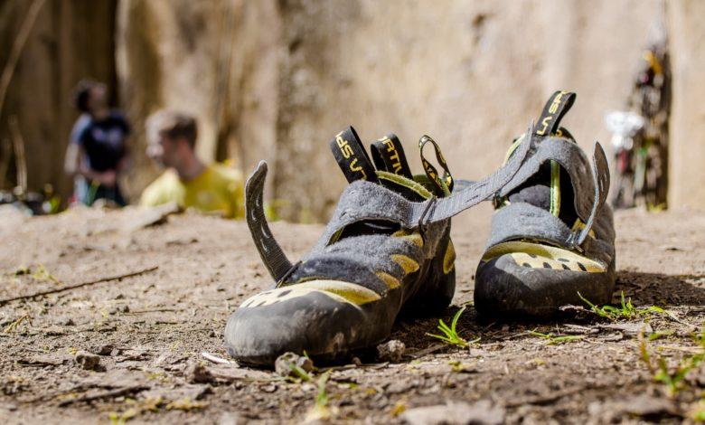broken in climbing shoes