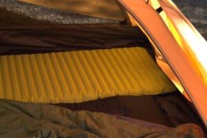 air mattress in a tent